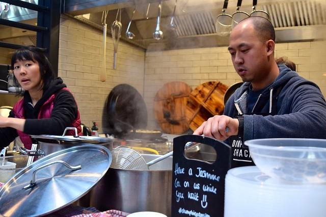 Behind the counter at Dumpling Shack, The Kitchen at Old Spitalfields Market #dumplingshack #streetfood #london #spitalfields