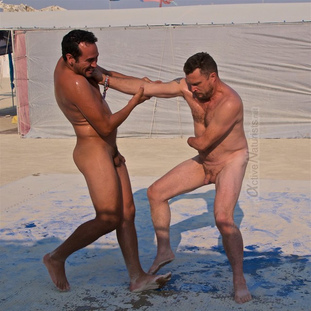 naturist wrestling camp Gymnasium 0002 Burning Man, Black Rock City, NV, USA