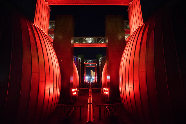 Digester Eggs at night in red