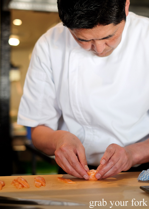 Chef Ryuichi Yoshii making a salmon flower at Fujisaki by Lotus at Barangaroo in Sydney