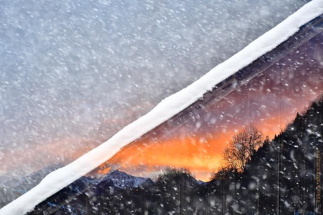 Snow Storm Sunset