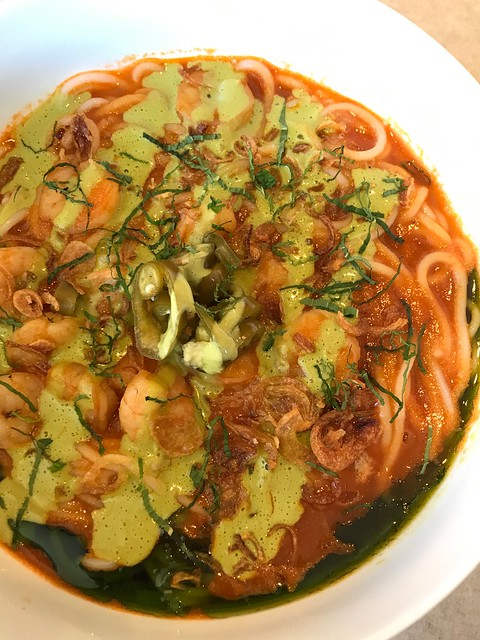 Banna shrimp mixian - Smoked Tomato Shellfish Broth, Shrimp, Coconut Mint Sauce, Pickled Green Chili, Herb Oil, Fried Shallots