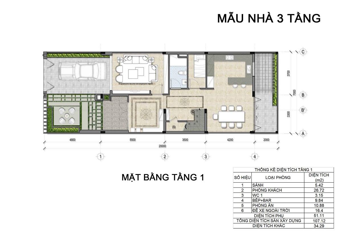 Mặt bằng tầng 1 biệt thự 3 tầng thuộc các lô LK1, LK2, LK6 biệt thự Hưng Phát Green Star q7.