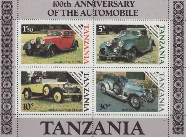 Známky Tanzánia 1986 Automobily nerazený hárok