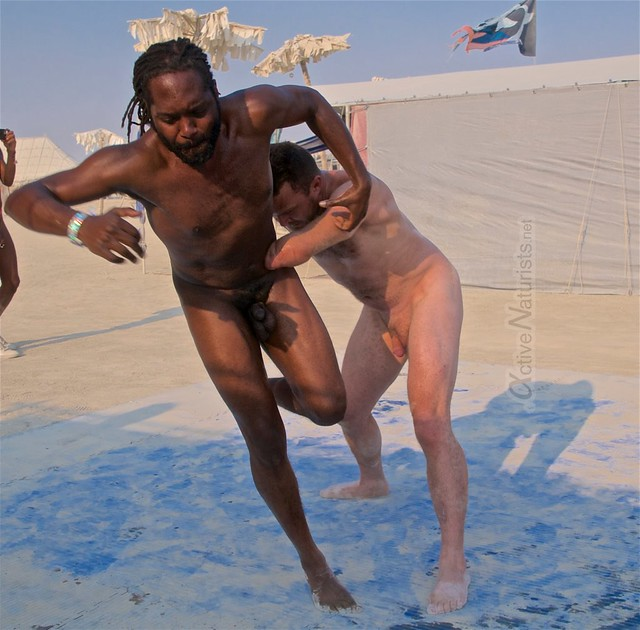 naturist wrestling camp Gymnasium 0004 Burning Man, Black Rock City, NV, USA