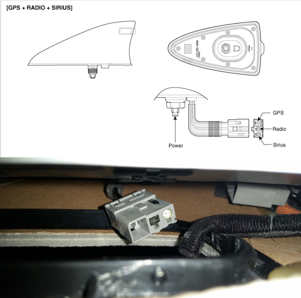Diy Replacing Pole Roof Mounted Antenna With A Shark Fin Kia Forum 2009 Borrego Wiring Diagram Started Searching The Web On Hunt For Potential Candidate And Came Across 2015 Hyundai Tucson Oem Model 962102s800tcm That Seemed To Fit My