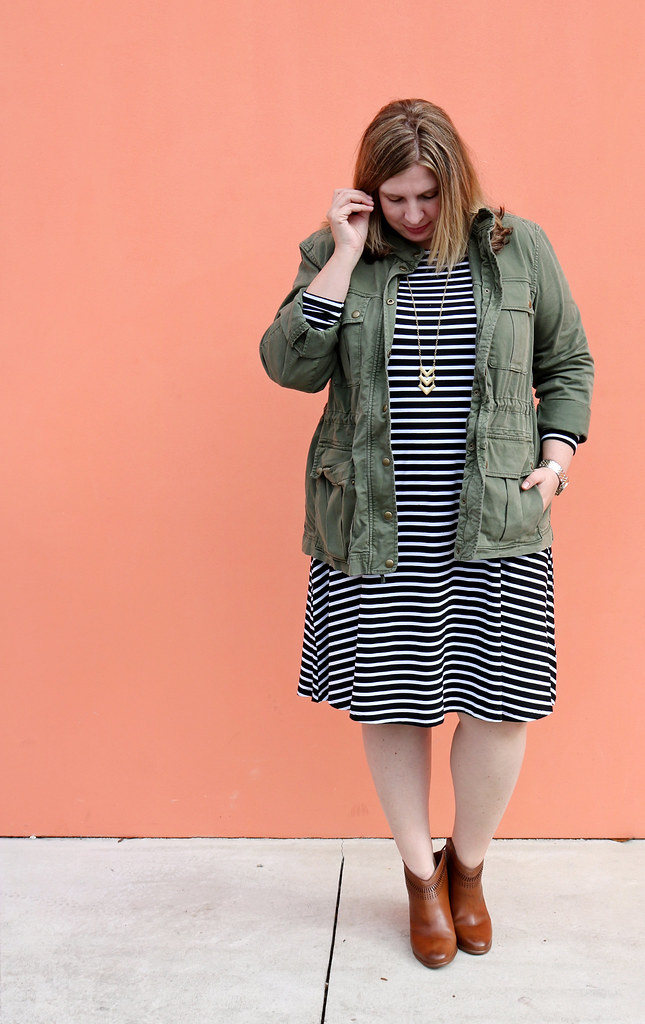 black and white stripe swing dress, olive cargo jacket, cognac booties 6