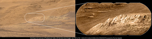 Zooming on an outcrop of Phyllosilicate Valley with Remote Micro Imager - sols 1957 & 1961