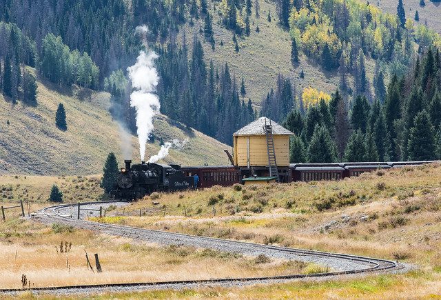 Cumbres and Toltec passing Water Tower in Colorado