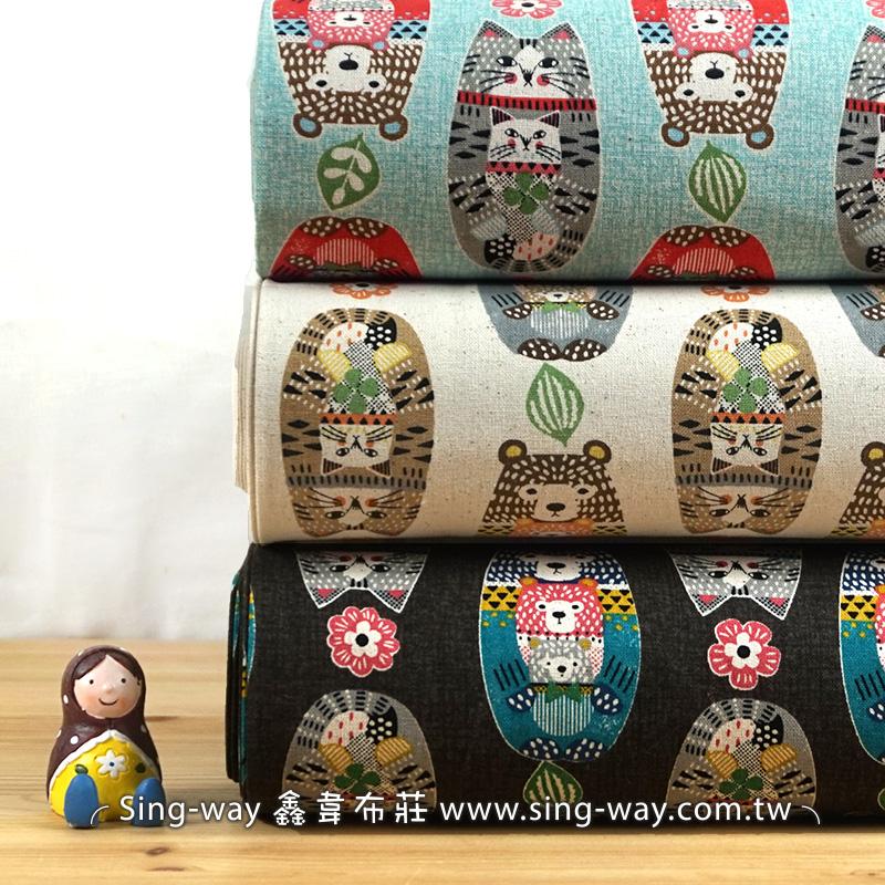 動物不倒翁 Cat&Bear 熊 貓 俄羅斯娃娃 手工藝DIy拼布布料 CF550634