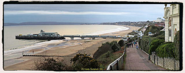 Bournemouth Pier in January 2013, before the Zip Line was erected, taken from East Overcliff Drive, Bournemouth, Dorset. England.