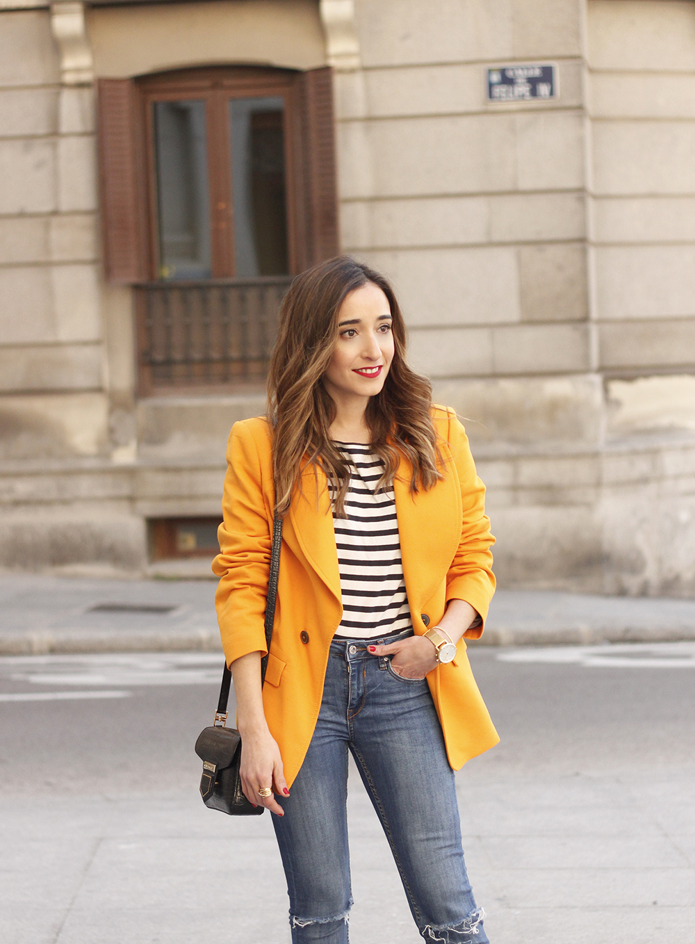 yellow blazer strippes ripped jeans givenchy bag leopard heels spring outfit 201809