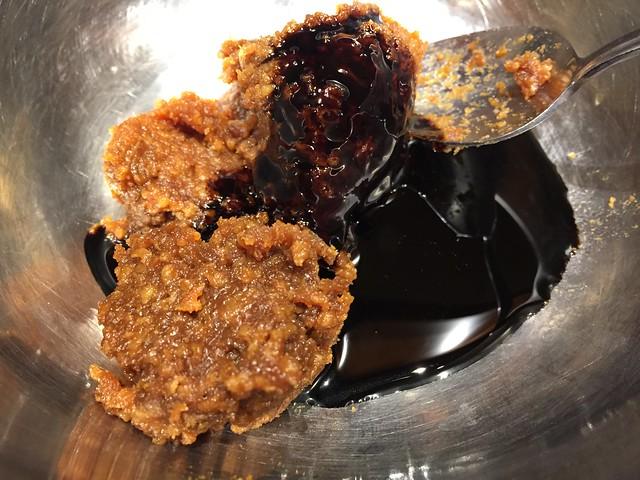 Mixing miso and blackstrap molasses