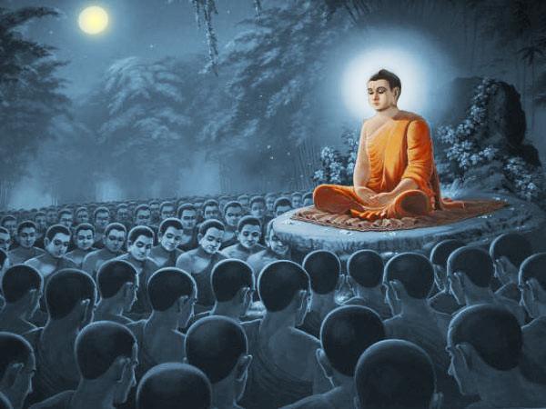 Sri Buddha membabarkan Ovada Patimokkha di Hari Magha Puja.