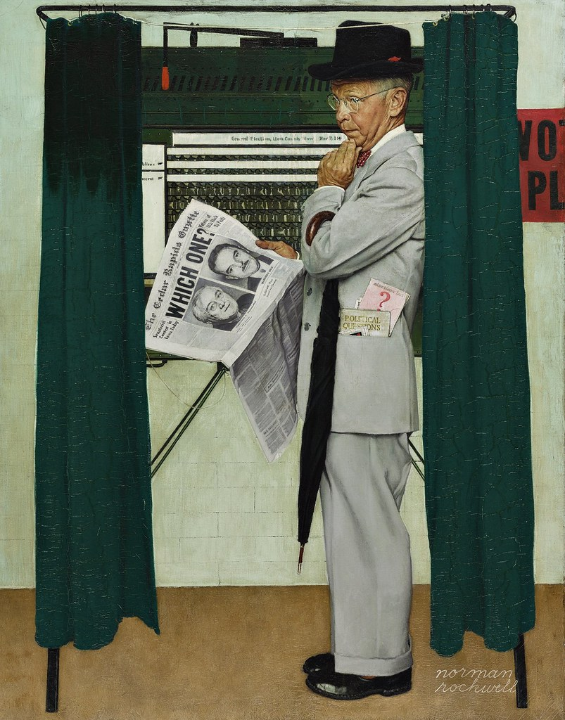 Norman Rockwell - Which One (Undecided, Man in Voting Booth) (1944)