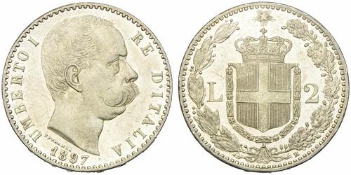 1897 Italian 2 Lire