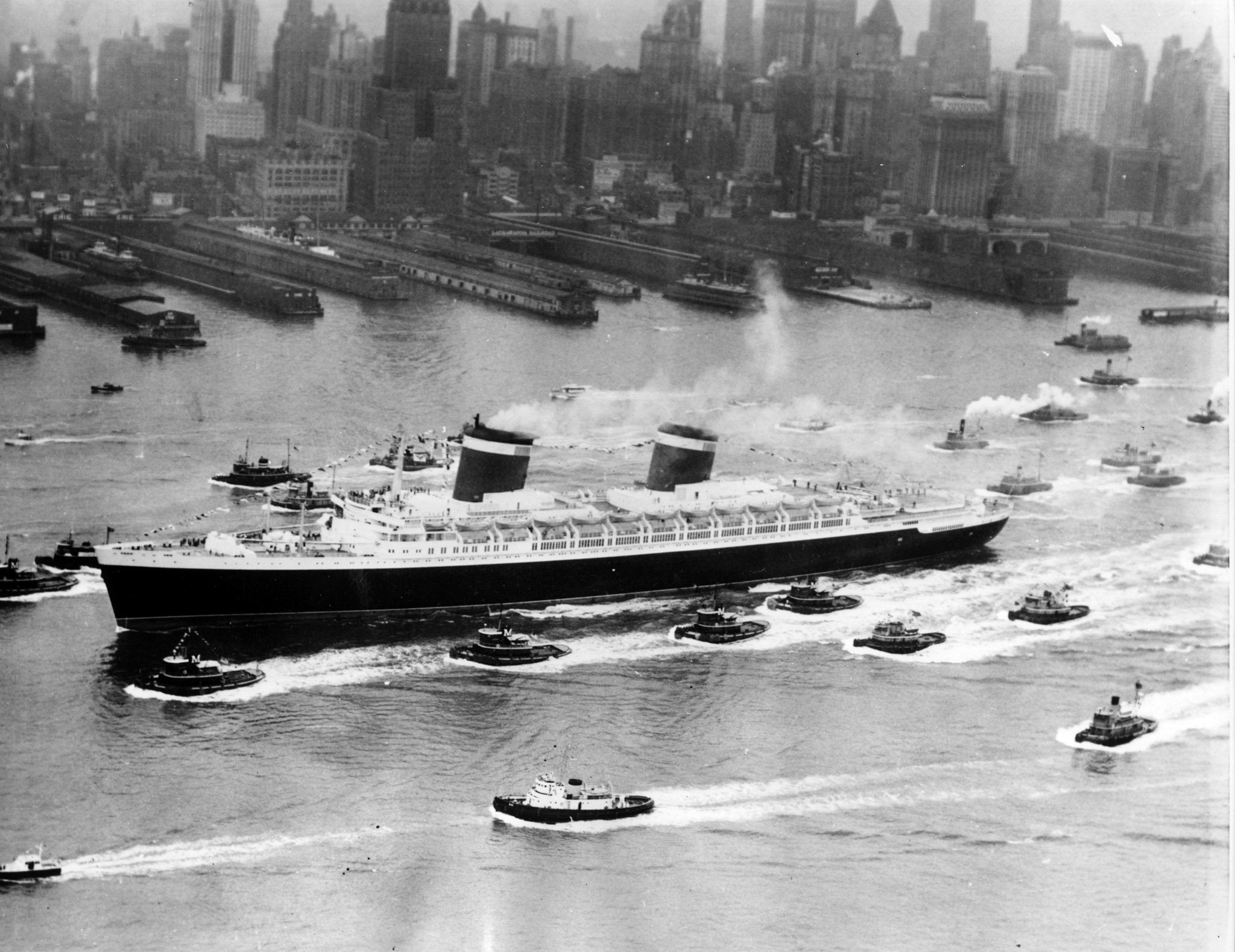SS United States in New York harbor, July 1953.