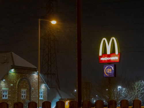 Snowing at McDonald's.