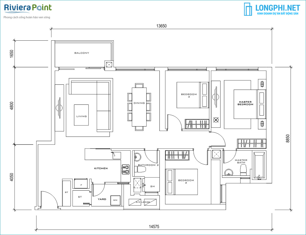 Mặt bằng căn hộ 3 phòng ngủ cho thuê tại dự án Riviera Point quận 7.
