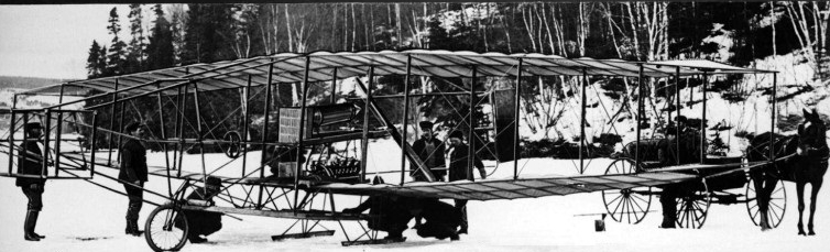 The Silver Dart (Aerodrome #4) at Baddeck Bay, Nova Scotia, possibly February 23 or 24, 1909.
