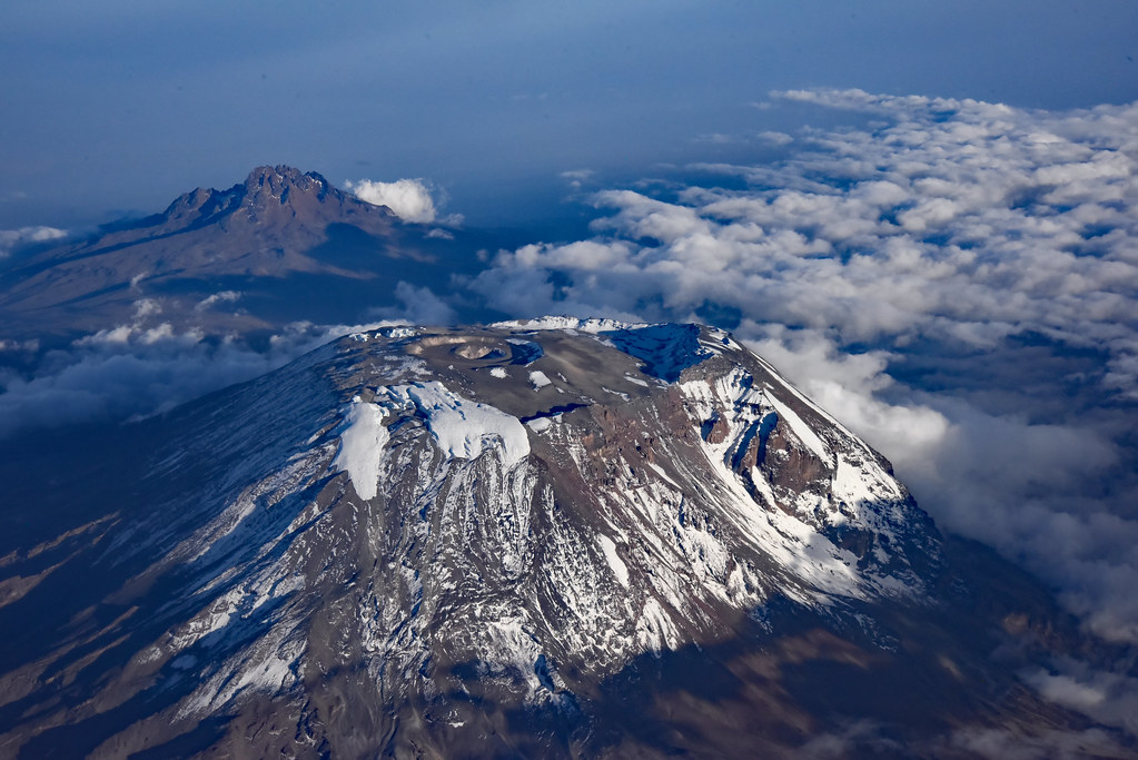 Aerial view of Mt Kilimanjaro in the evening