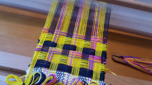 doubleweave on my Ashford rigid heddle loom, using three heddles