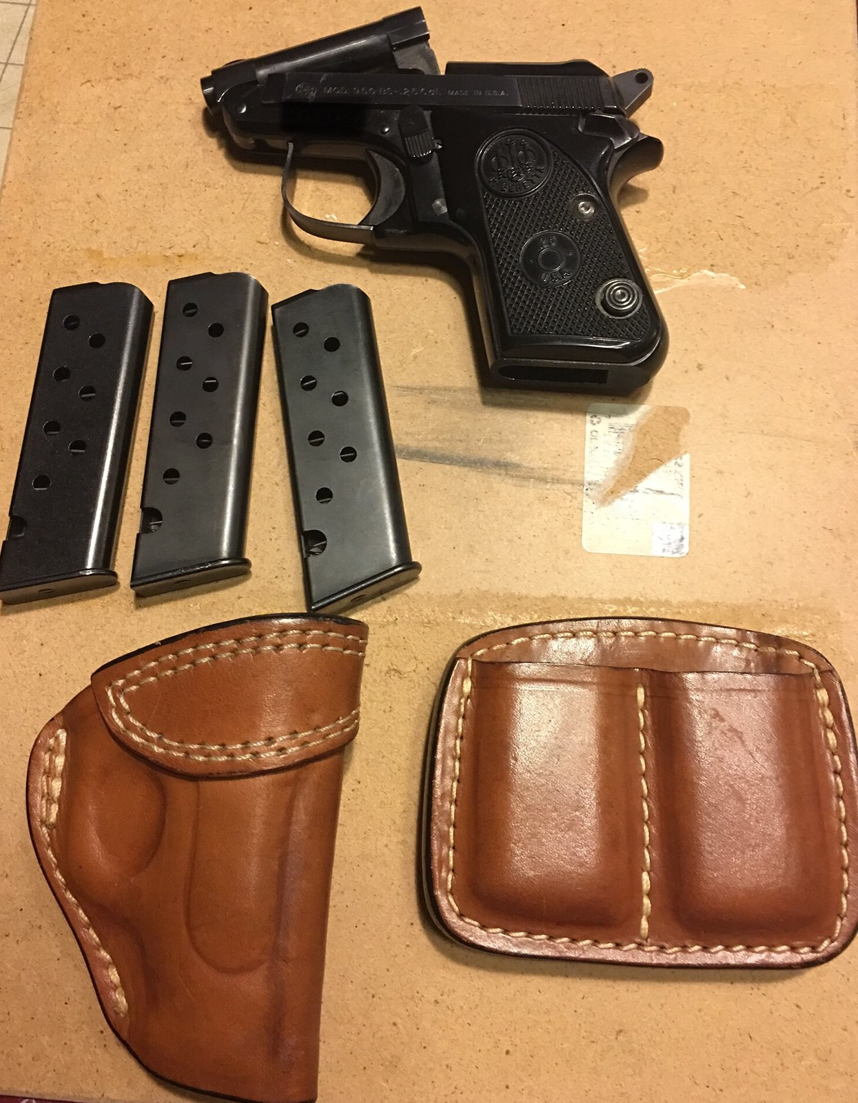 FS Beretta 950BS 25 ACP with 3 mags Holster and mag pouch