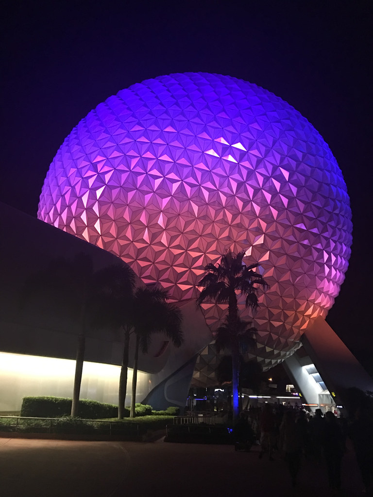 Spaceship Earth colors at Night