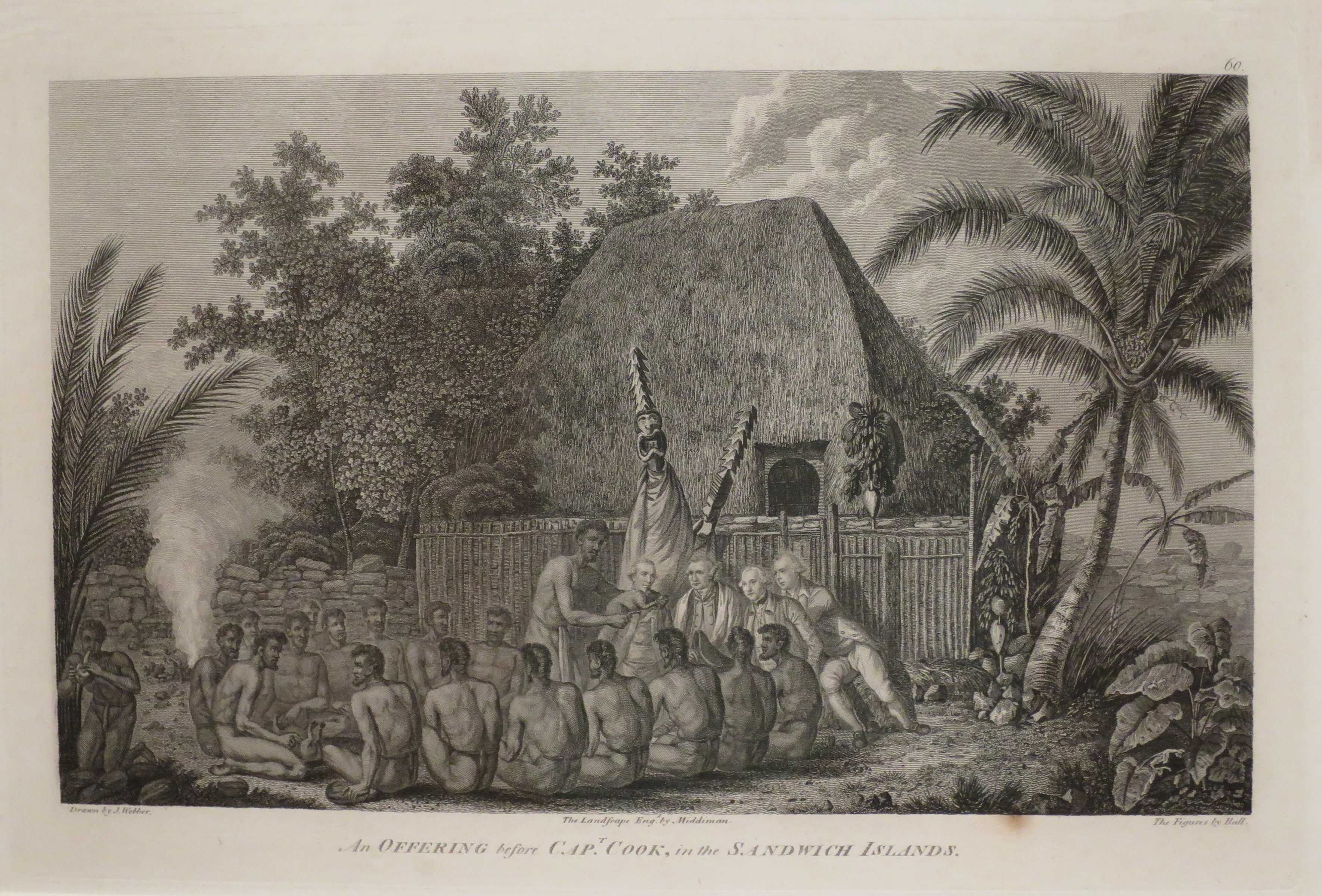 An Offering before Captain Cook in the Sandwich Islands engraving after John Webber, Honolulu Museum of Art, accession 5734. Landscape engraved by Samuel Middiman, and figures engraved by John Hall.