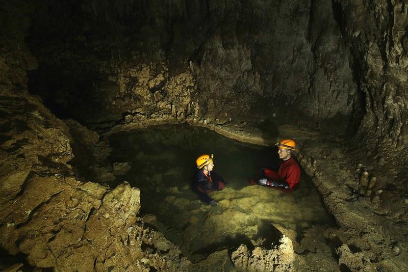 An underground jacuzzi