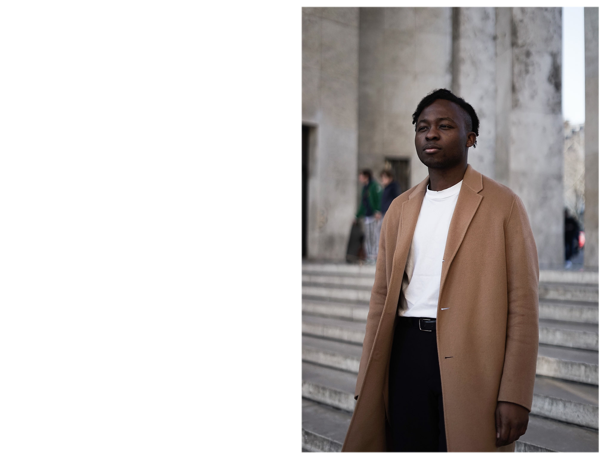 ,palais de tokyo paris mode couple fashion camel coat claudie pierlot acne studios balenciaga
