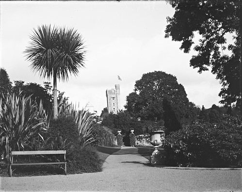 Glenart 1903. Tower flying Union Jack set in tropical style gardens. Pathway leading towards ivy covered gables.
