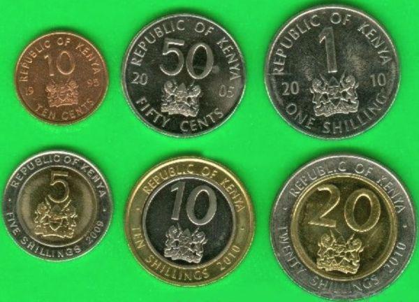 Sada mincí Keňa 10-50 Cents 1-5-10-20 Shillings 1995-2010