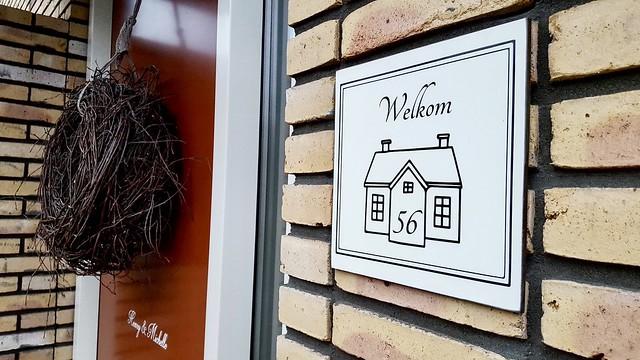 Welkom sticker met huisnummer