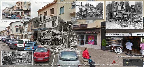 "11. Pz.Div Panther ""225"", Rue de Lyon, Méximieux, France, Knocked out 1 September 1944 - Then and Now - Montage 1"