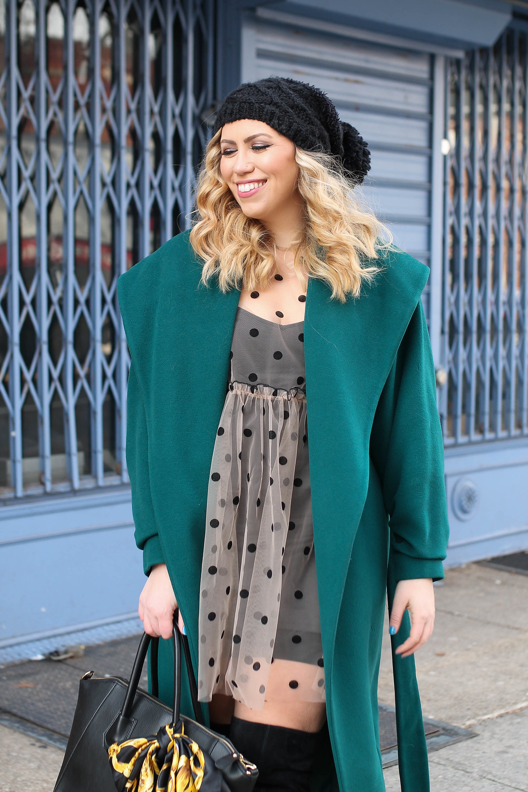 Black Slouchy Beanie Vintage Emerald Green Winter Coat Sheer Polka Dot Dress Outfit