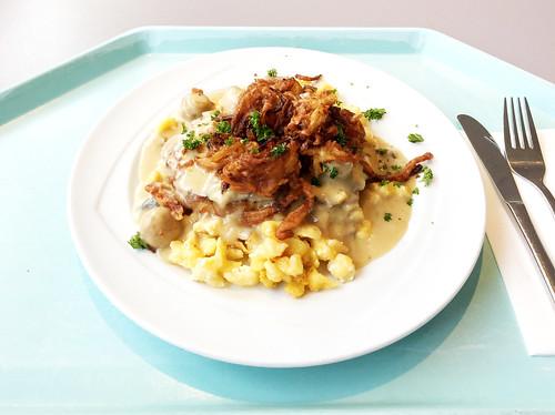 Swabish dish - Pork steak with mushroom sauce, fried onions & cheese spaetzle / Schwabenteller - Steak vom Schwein mit Schwammerlsoße, Röstzwiebeln & Käsespätzle