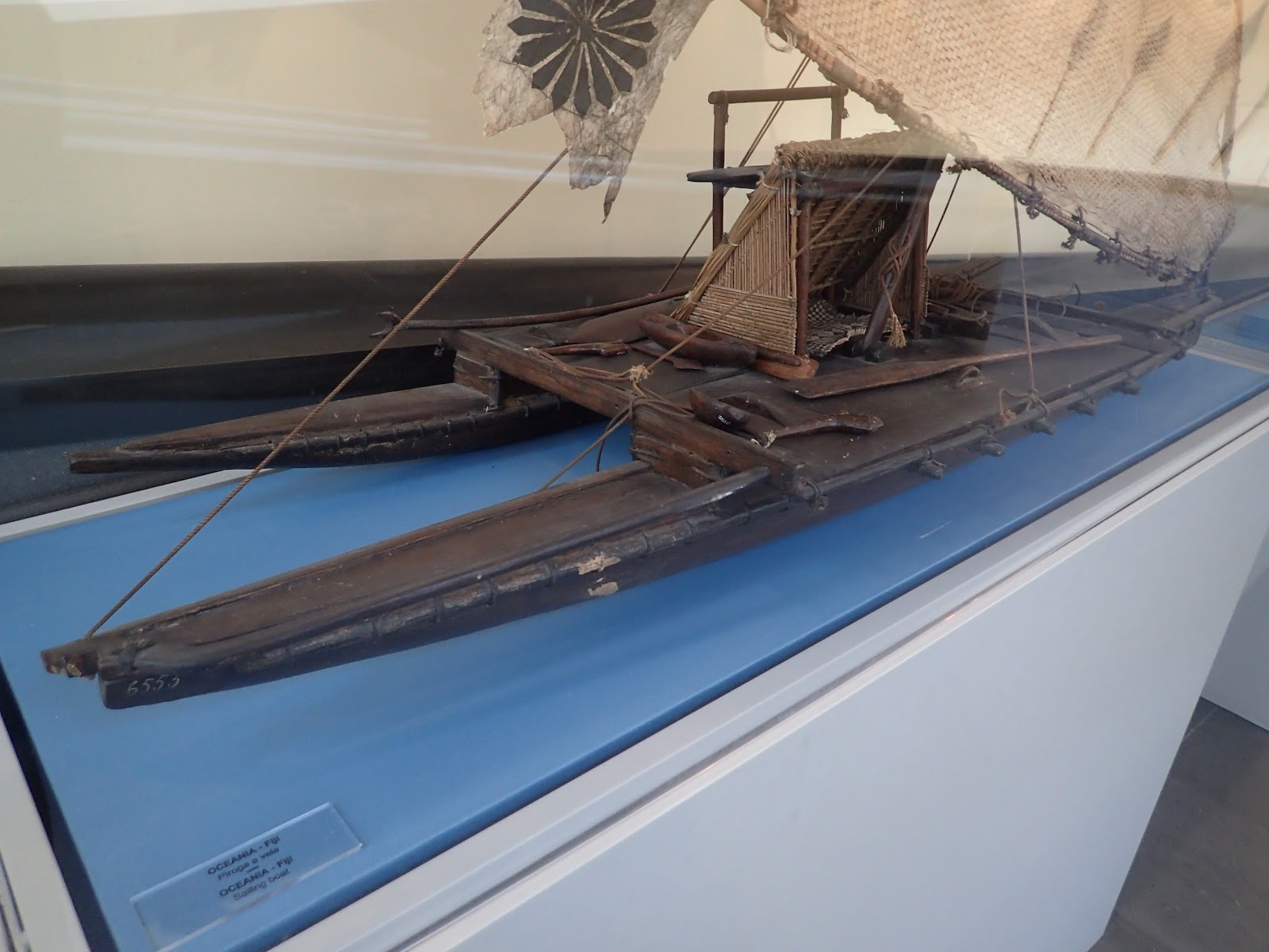 Model of a Fijian outrigger sailing canoe displayed at an exhibition by the Vatican Museums in the Vatican City, December 2016.