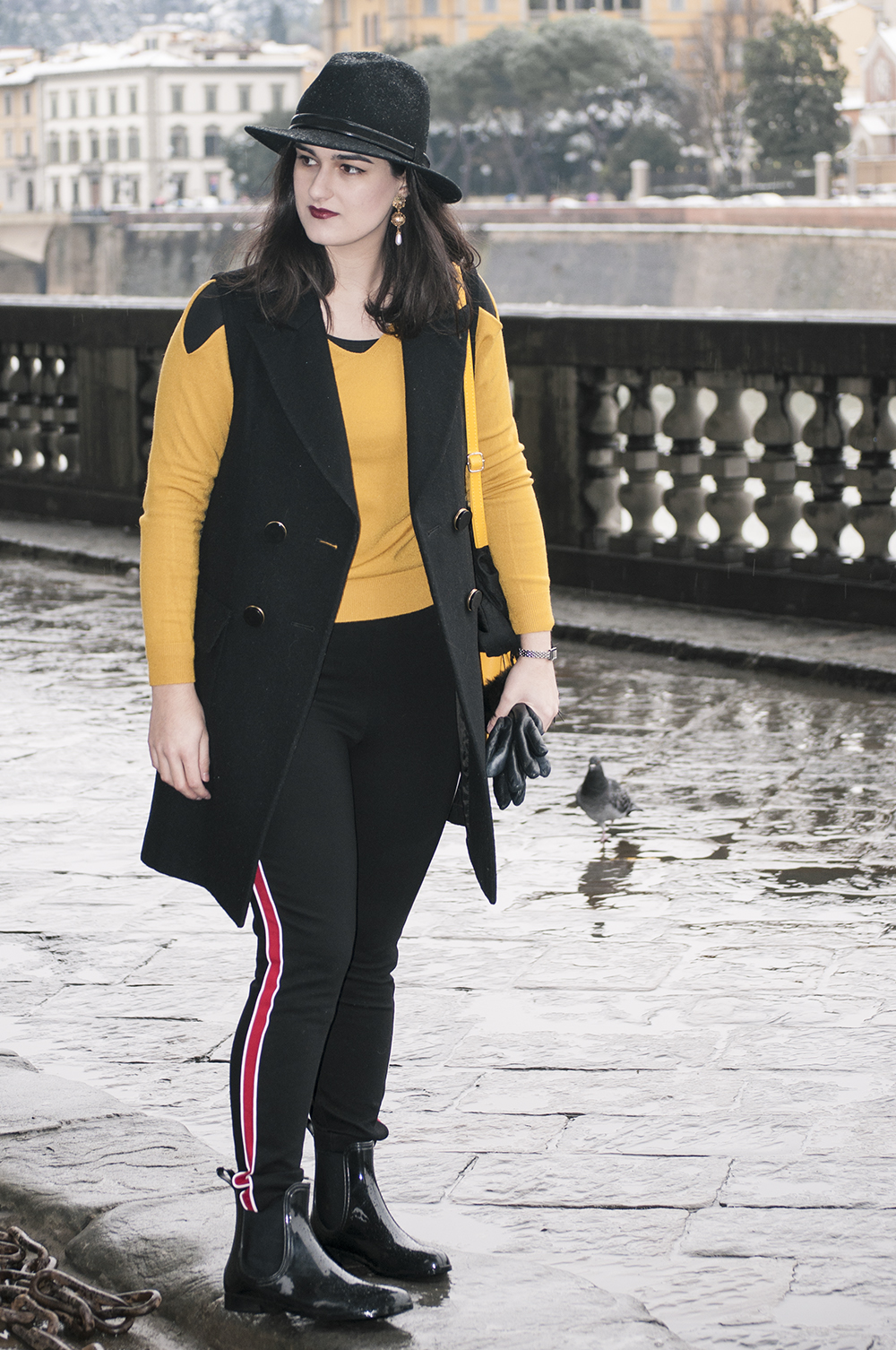 somethingfashion blogger firenze collaboration outfit casual mustard top jersey shein vest firenze snow pontevecchio_0711
