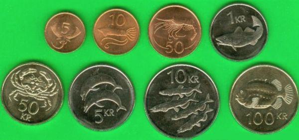 Sada mincí Island 5-10-50 Aurar - 100 Kroner 1981-2008