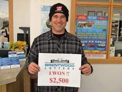 Darryl Lloyd won $2,500 in the Brentwood Lottery XXVI Main Draw