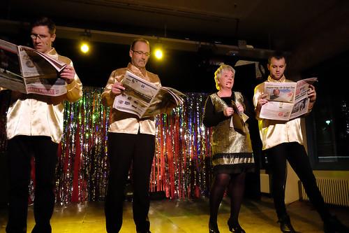 Revy. Chopp Event har fortfarande en fot på revyscenen, i samarbete med Nöjeskarusellen i Valdemarsvik. Längst till höger musikalartisten Marcus Fyrberg som hon ofta samarbetar med.