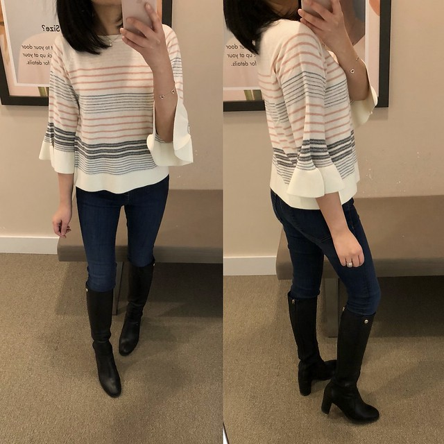 LOFT Mixed Stripe Bell Sleeve Sweater, size XXSP