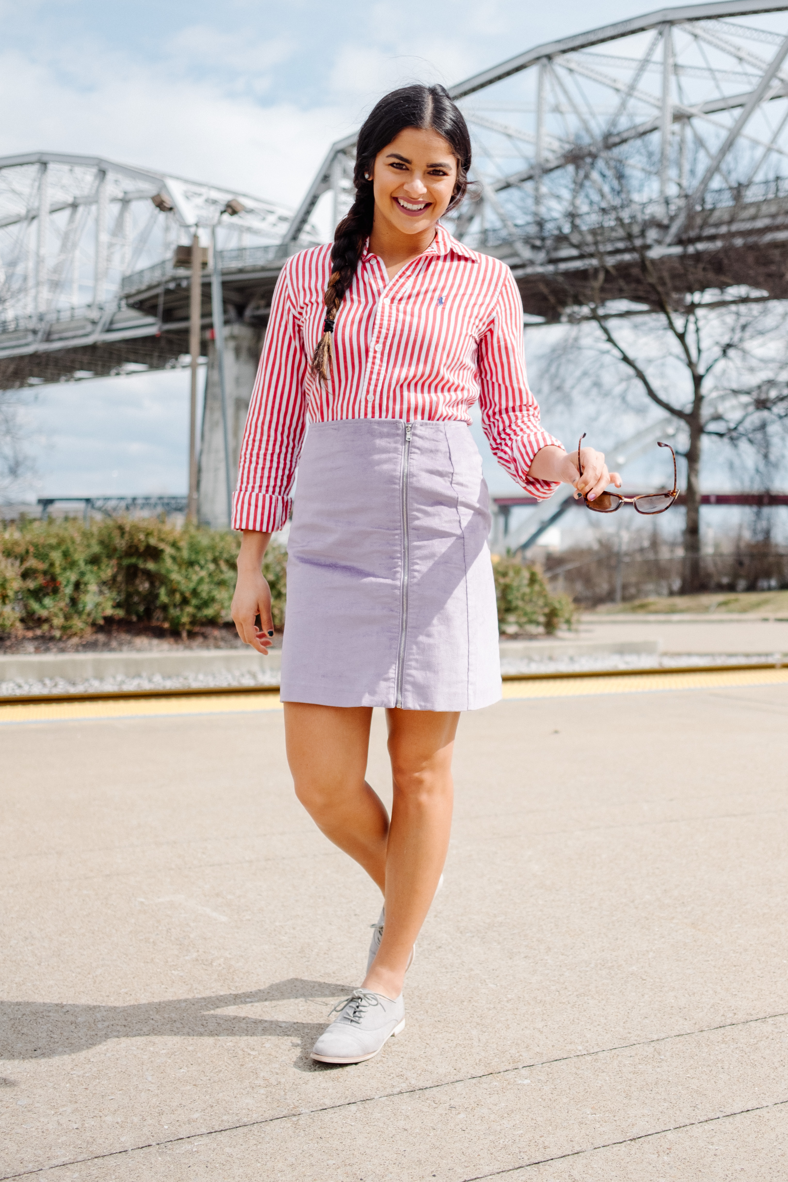 Priya the Blog, Nashville fashion blog, Nashville fashion blogger, Nashville style blogger, Spring outfit, LOFT purple velvet skirt, ColourPop Lippie Stix in Lumiere, Red Striped Button-up