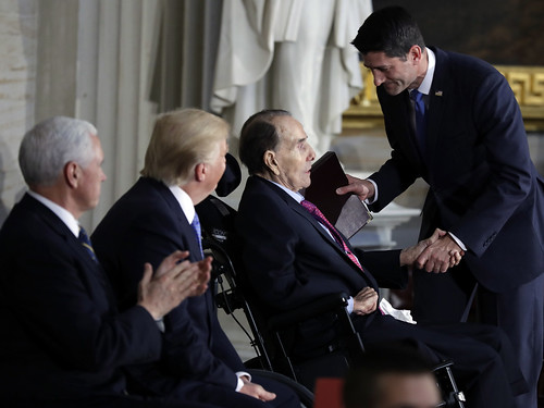 Pence, Trump, Dole, Ryan as Dole received Congressional Gold medal