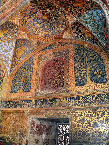 Painted walls and ceiling at Akbar's Tomb in Agra, India
