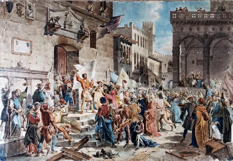 """Ciompi Revolt depicted in """"Il tumulto dei ciompi"""" by Giuseppe Lorenzo Gatteri"""