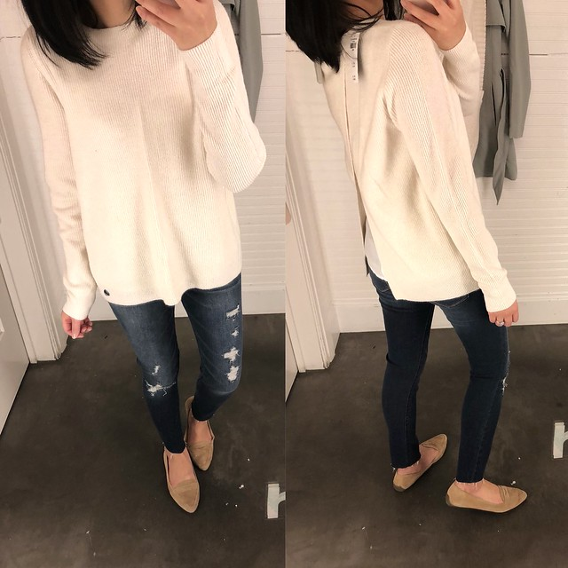 Abercrombie Split Back Sweater in off white, size S