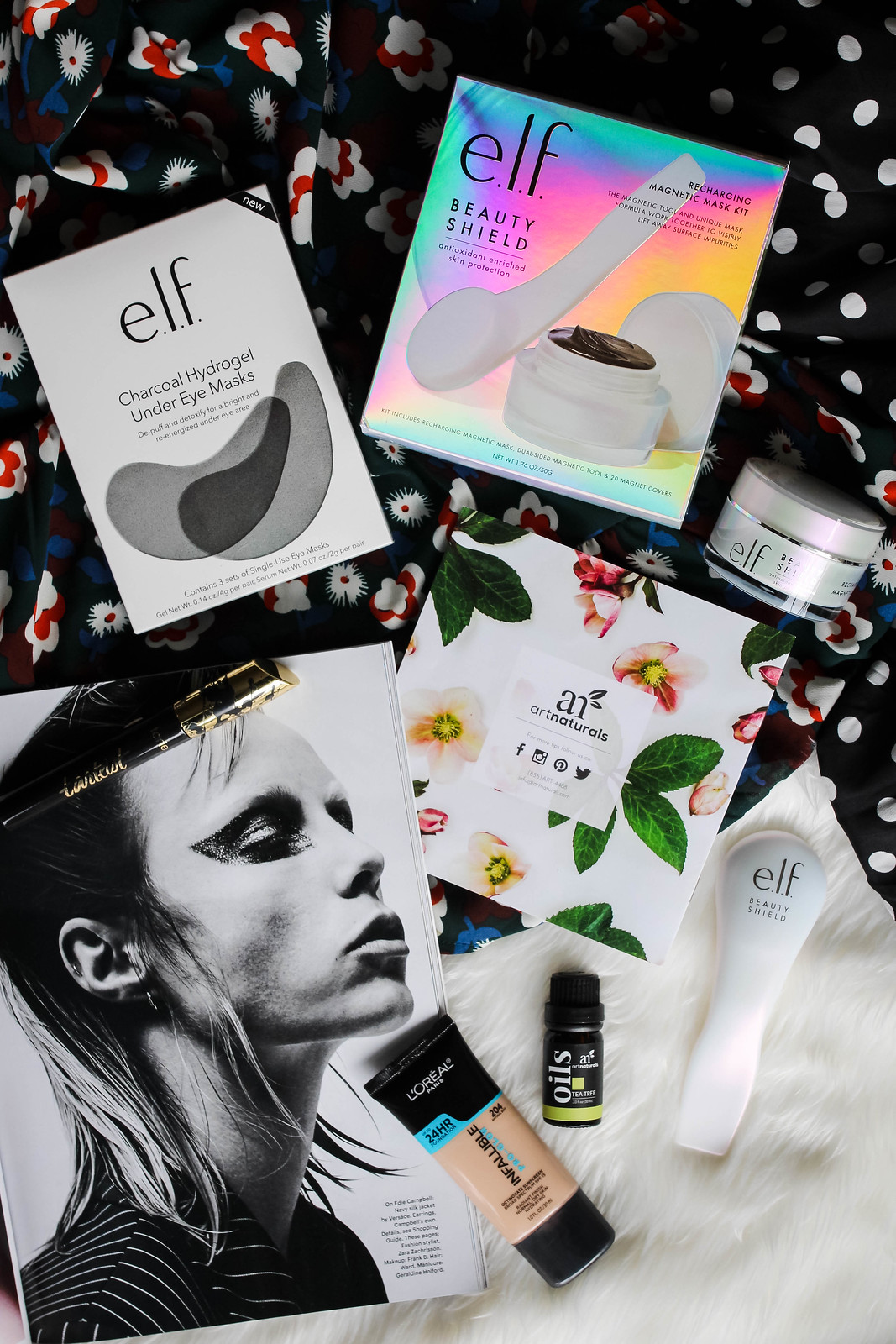 Beauty Product Flay Lay Skincare Charcoal Essential Oil Black White Magazine