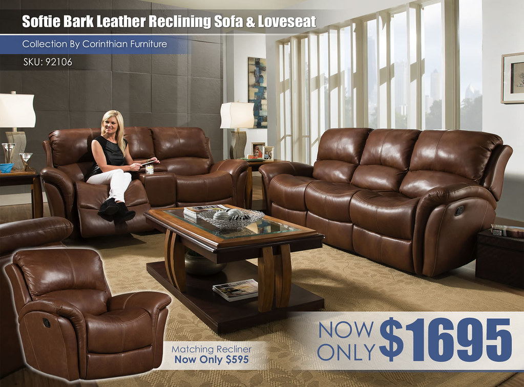 Softie Bark Leather Reclining Set_92106